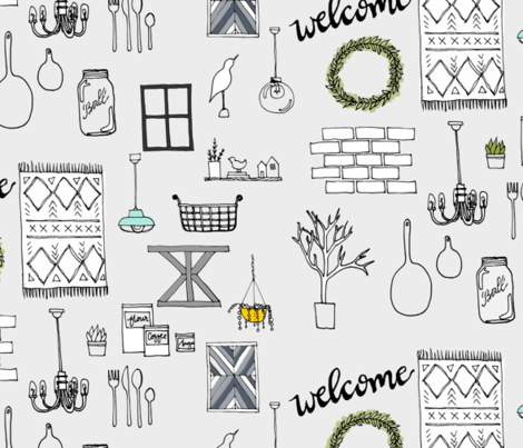 modern farmhouse gray fabric by mrshervi on Spoonflower - custom fabric