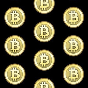 "2"" Gold Bitcoins on Black"