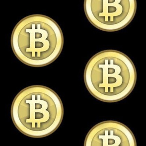 "3"" Gold Bitcoins on Black"