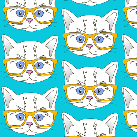 Hipster Kitten Turquoise Blue fabric by curious_nook on Spoonflower - custom fabric