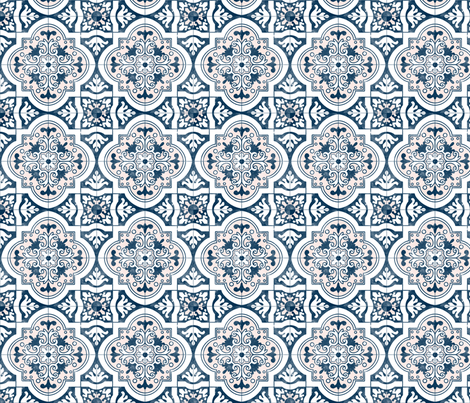 8.5 inch Navy and Pink Spanish Tile  fabric by tiffanyaryee on Spoonflower - custom fabric