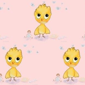 Baby yellow bird on pink