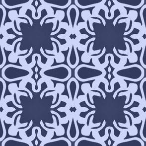 Raina, Quatrefoil, Navy and Blue, Medium