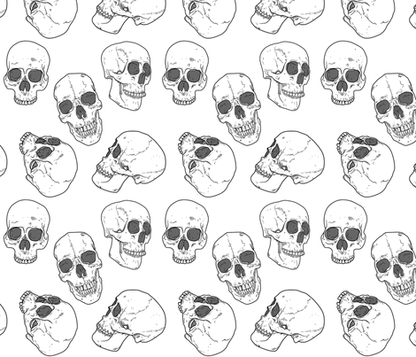 5 Skulls fabric by elysesanderson on Spoonflower - custom fabric