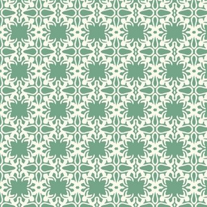 Raina, Quatrefoil, Green and Cream, Small