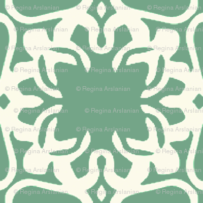 Raina, Quatrefoil, Green and Cream, Medium