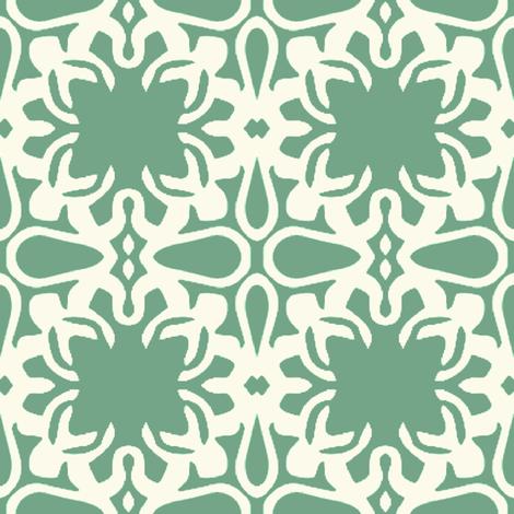 Raina, Quatrefoil, Green and Cream, Medium fabric by palifino on Spoonflower - custom fabric