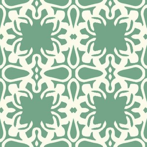 Raina, Quatrefoil, Green and Cream, Medium