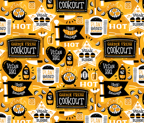Garden Fresh Cookout Mustard Yellow fabric by hollybender on Spoonflower - custom fabric