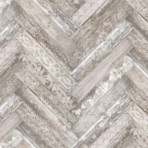 Vintage Wood Chevron Tiles Herringbone Cream Beige