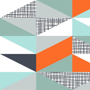 NORDIC Color Block Triangles Navy White Grey Orange Mint