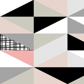 NORDIC Color Block Triangles Black White Pink Grey
