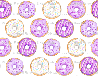 Iced Donuts Purple on white