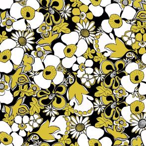 Floral Doodles mustard black white
