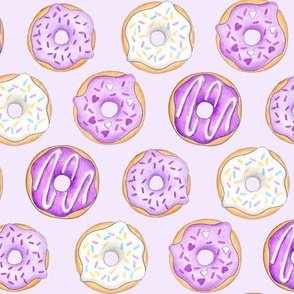Iced Donuts Purple on pale purple