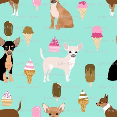 chihuahua ice cream dog beed pet fabric minty blue
