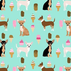 chihuahua ice cream dog beed pet fabric minty blue