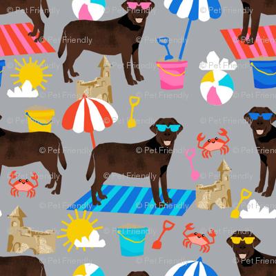 chocolate lab sandcastles summer dog breed fabric labrador retriever grey