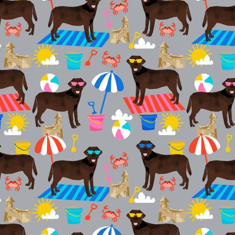 chocolate lab sandcastles summer dog breed fabric labrador retriever grey fabric by petfriendly on Spoonflower - custom fabric