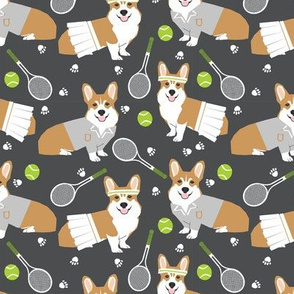 corgi red coat tennis sports dog breed fabric grey
