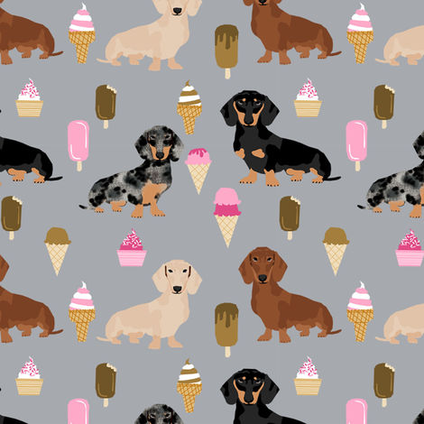 dachshunds mixed coats doxie ice cream summer dog breed fabric grey fabric by petfriendly on Spoonflower - custom fabric