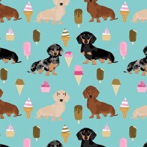 dachshunds ice cream summer dog breed fabric blue