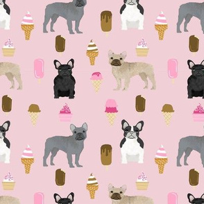 french bulldogs ice cream summer dog breed fabric pink