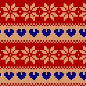 winter knit red beige blue