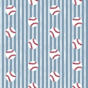 baseball sports themed baseballs fabric design blue stripes