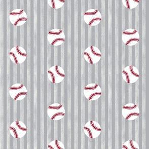 baseball sports themed baseballs fabric design grey stripes