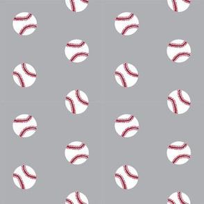 baseball sports themed baseballs fabric design grey
