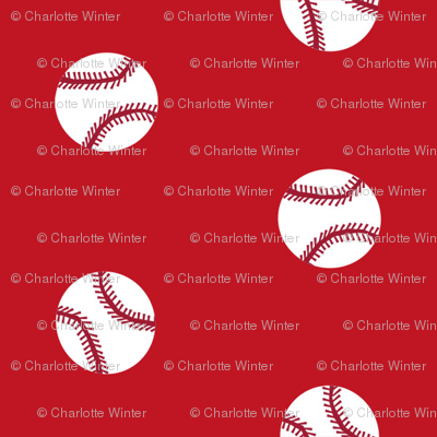 baseball sports themed baseballs fabric design red