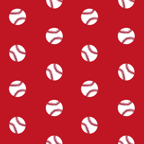 baseball sports themed baseballs fabric design red fabric by charlottewinter on Spoonflower - custom fabric