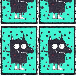 Monster teal print