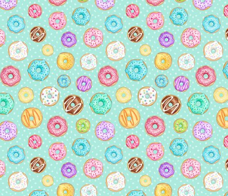 Rrscattered-rainbow-donuts-on-mint-spotty-150-full-size-hazel-fisher-creations_shop_preview