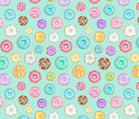 Scattered Rainbow Donuts on mint spotty fabric by hazelfishercreations on Spoonflower - custom fabric