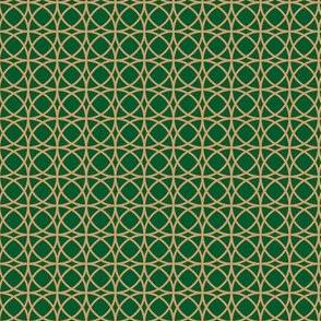 circles beige on green