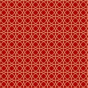 circles beige on red