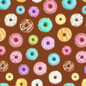 Scattered Rainbow Donuts on chocolate - small scale