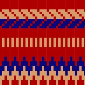 renate's knitting red blue beige