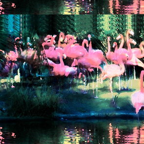 Flamingos Community Blue Green Design