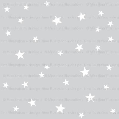 panda dreams stars light grey reversed
