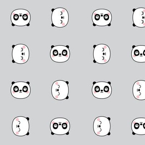 panda dreams cheeky panda faces on light grey small