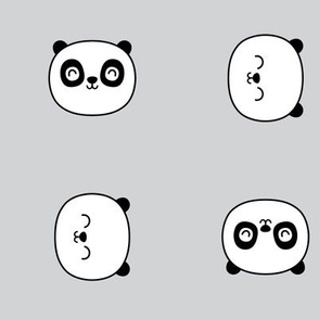 panda dreams panda faces on light grey