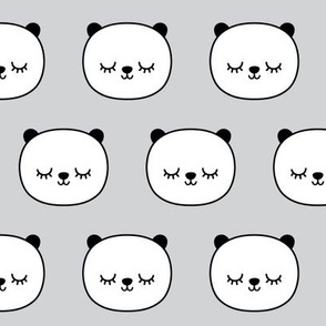 panda dreams panda sleepy faces on light grey