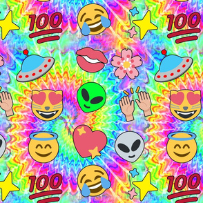 2 emoji aliens hearts stars smiling smiley faces angels crying tears of joy laughing 100  lips mouths flowers floral sakura spaceships ufo cats tie dye hippies rave music festivals psychedelic watercolor raising hands hundred points arms in the air Hallel