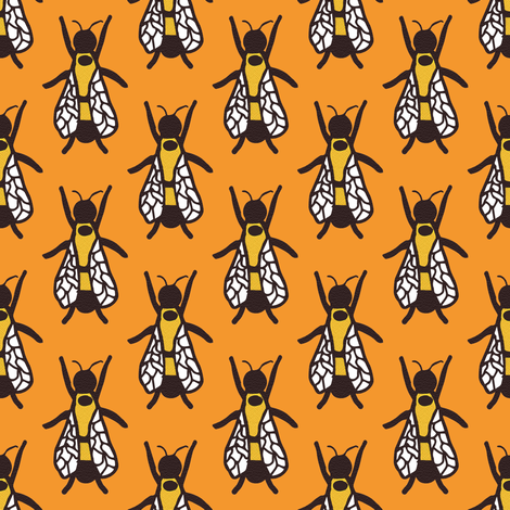 2 Queen Rusty Patched Bumble Bee fabric by anniedeb on Spoonflower - custom fabric