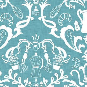 Teal Linen Farmhouse Wallpaper