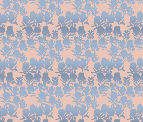 protea peach blue fabric by youdesignme on Spoonflower - custom fabric