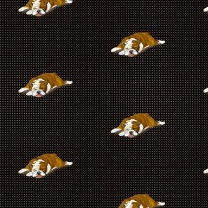Custom Snoozing Bulldog on Dark Dotted Background